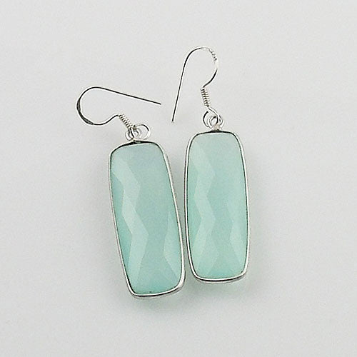 Aqua Chalcedony Sterling Silver Oblong Earrings - Keja Designs Jewelry