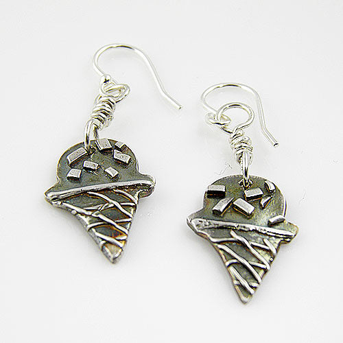 Ice Cream Cone - With Sprinkles - Pure Fine Silver Earrings - Keja Designs Jewelry