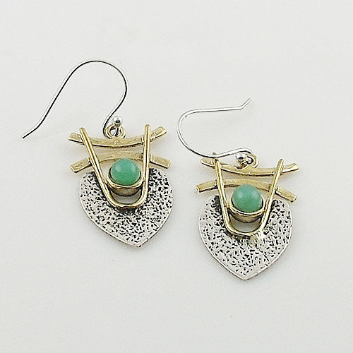 Chrysoprase Sterling Silver TwoTone Earrings - Keja Designs Jewelry