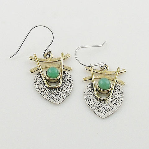 Chrysoprase Sterling Silver TwoTone Earrings