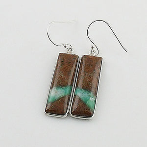 Boulder Chrysoprase Sterling Silver Oblong Earrings - Keja Designs Jewelry
