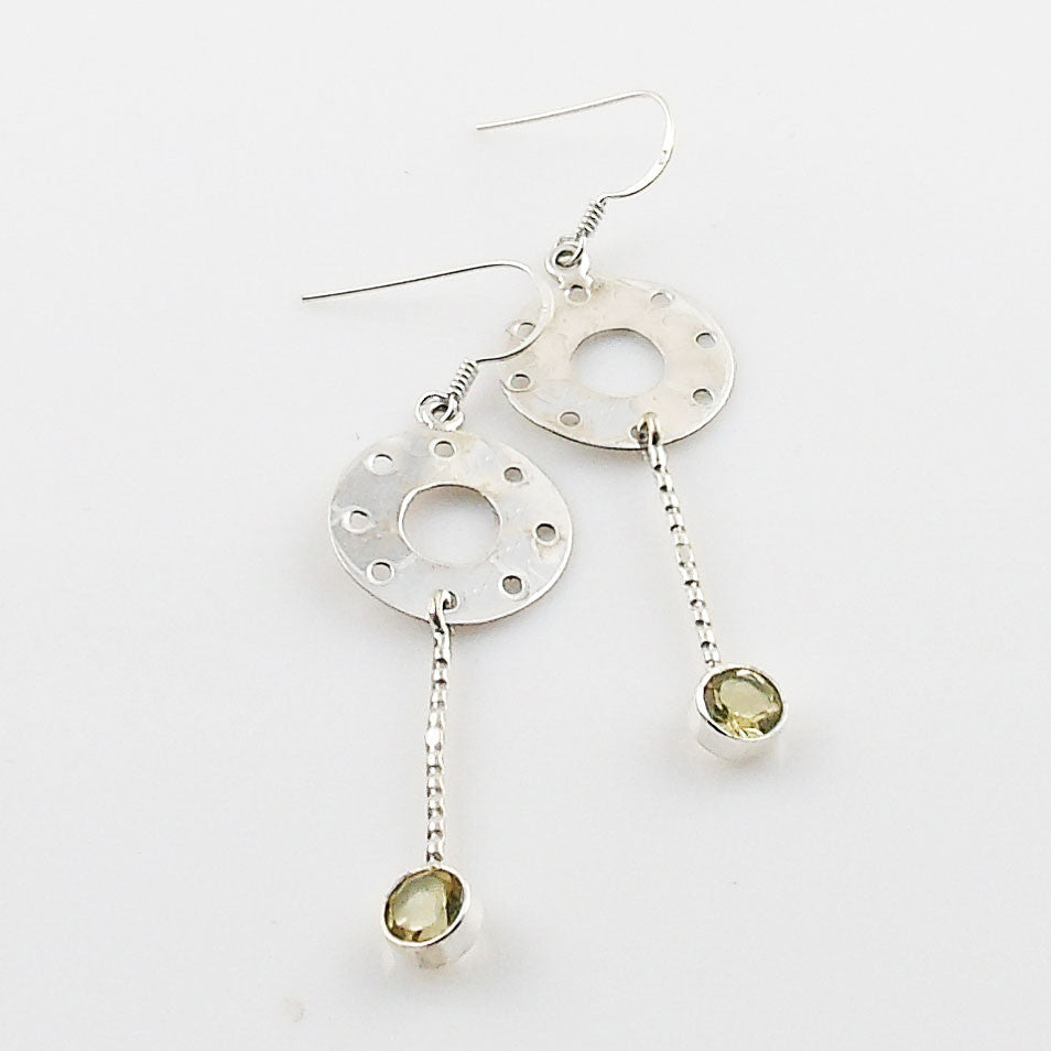 Citrine Sterling Silver Disk Earrings - Keja Designs Jewelry