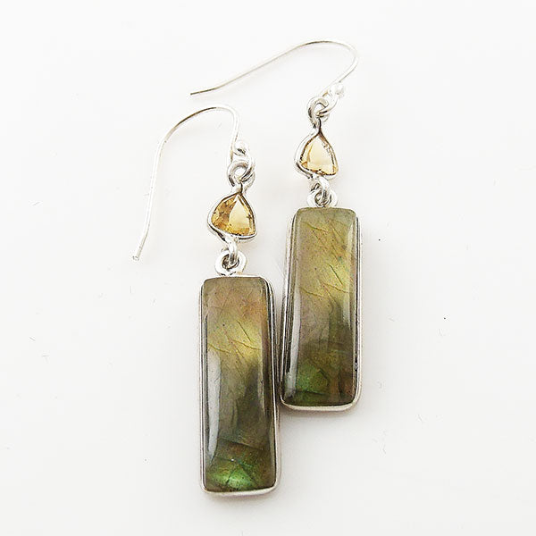 Labradorite & Citrine Long Sterling Silver Earrings - Keja Designs Jewelry