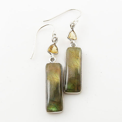 Labradorite & Citrine Long Sterling Silver Earrings