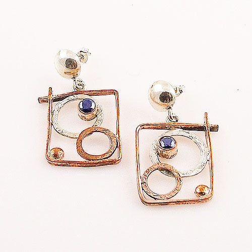 Sapphire Sterling Silver Two Tone Earrings - keja designs - Keja Designs Jewelry