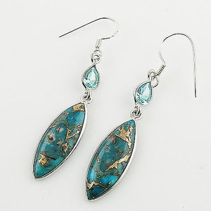 Blue Topaz & Copper Turquoise Sterling Silver Earrings - Keja Designs Jewelry