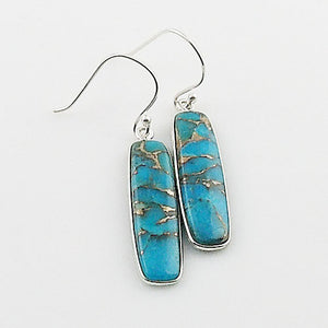 Copper Turquoise Rectangular Sterling Silver Earrings - Keja Designs Jewelry