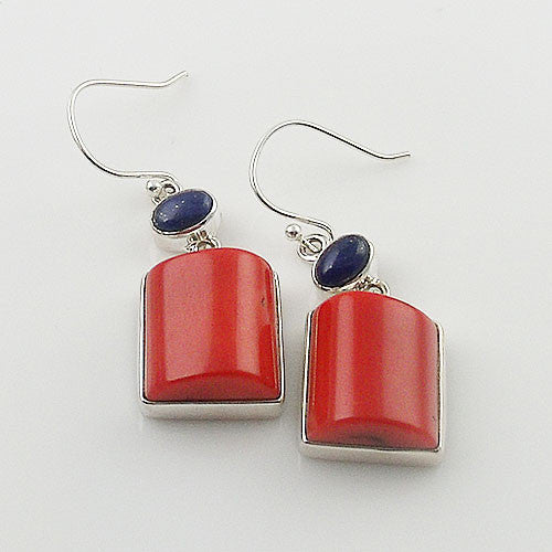 Coral & Lapis Sterling Silver Earrings - Keja Designs Jewelry