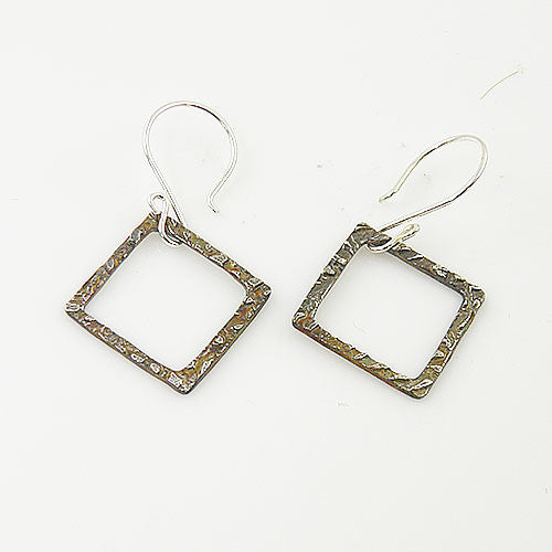 Open Textured Square Fine Silver Earrings - keja jewelry - Keja Designs Jewelry