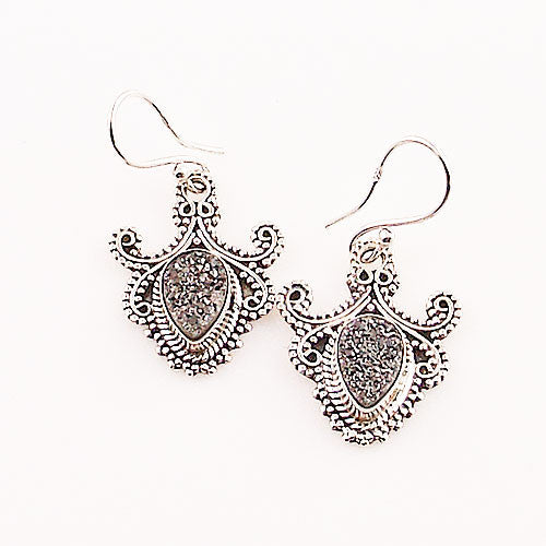 Silver Titanium Drusy Sterling Silver Earrings - Keja Designs Jewelry