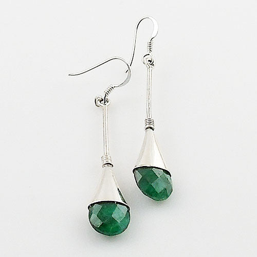 Emerald Sterling Silver Earrings - Keja Designs Jewelry