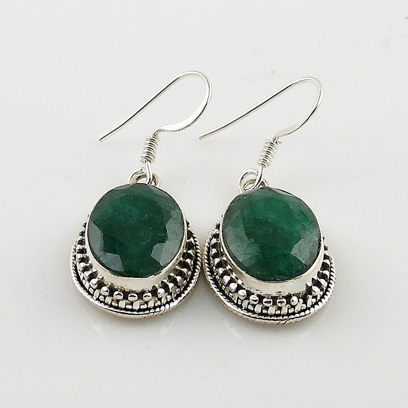 Emerald Sterling Silver Oval  Earrings - Keja Designs Jewelry