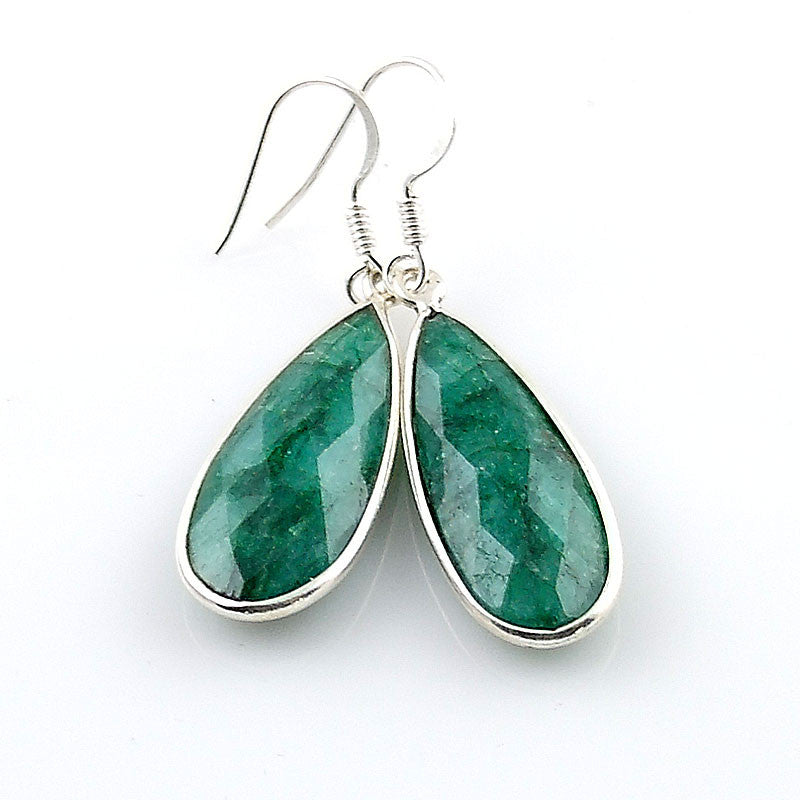 Emerald Tear Drop Sterling Silver Earrings - Keja Designs Jewelry