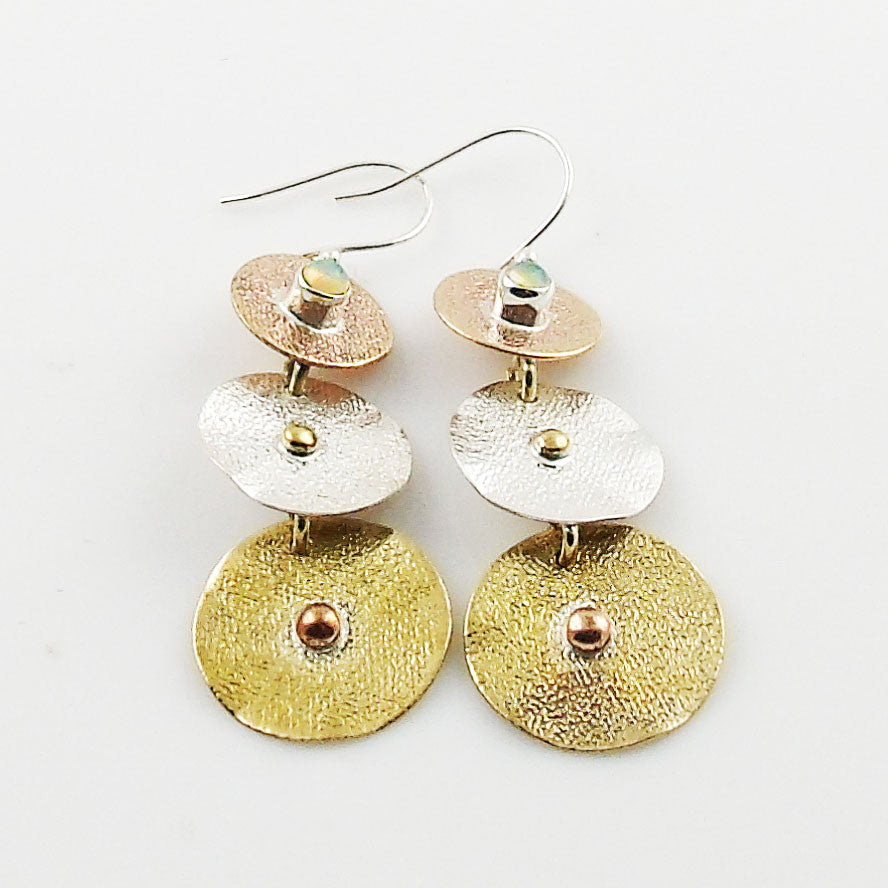 Ethiopian Opal Three Tone Disks Sterling Silver Earrings - Keja Designs Jewelry