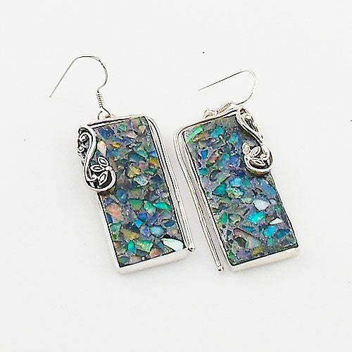 Ethiopian Opal in Pyrite Sterling Silver Vine Earrings - Keja Designs Jewelry