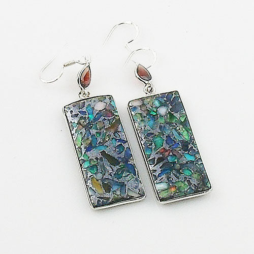 Garnet & Ethiopian Opal in Pyrite Sterling Silver Earrings - Keja Designs Jewelry