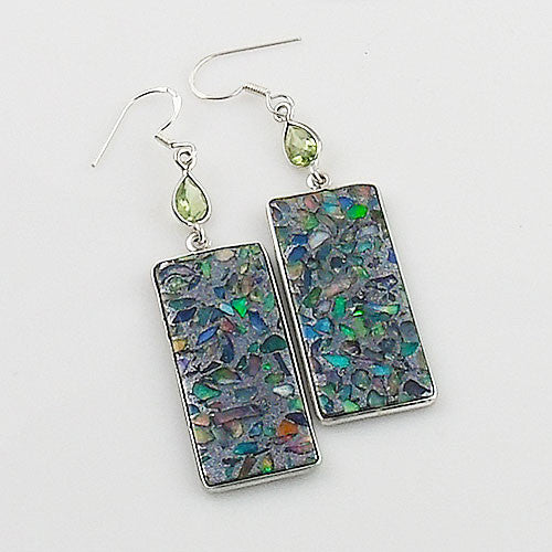 Peridot & Ethiopian Opal in Pyrite Sterling Silver Earrings - Keja Designs Jewelry