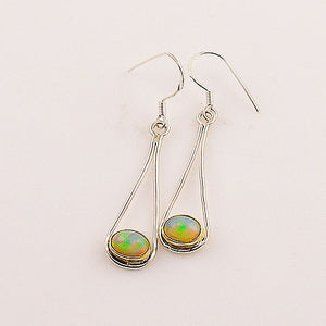 Ethiopian Opal Sterling Silver Earrings - keja jewelry - Keja Designs Jewelry