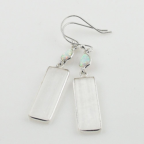 Selenite & Fire Opal Sterling Silver Earrings - Keja Designs Jewelry