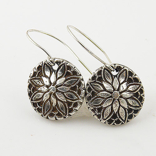 Floral Pure Silver Earrings - Keja Designs Jewelry