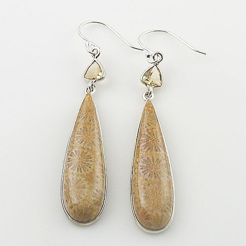 Fossilized Coral & Citrine Sterling Silver Earrings - Keja Designs Jewelry