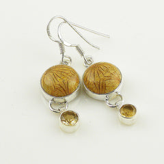 Citrine & Fossilized Coral Sterling Silver Earrings - Keja Designs Jewelry