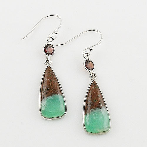 Garnet & Boulder Chrysoprase Sterling Silver Earrings - Keja Designs Jewelry