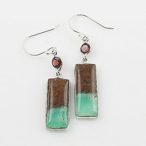 Boulder Chrysoprase & Garnet Sterling Silver Earrings - Keja Designs Jewelry