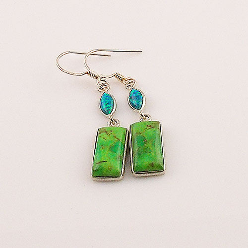Green Turquoise & Fire Opal Sterling Silver Earrings - Keja Designs Jewelry