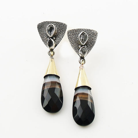Herkimer Diamond & Botswana Agate Two Tone Sterling Silver Earrings