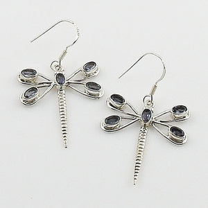 Iolite Sterling Silver Dragonfly Earrings - Keja Designs Jewelry