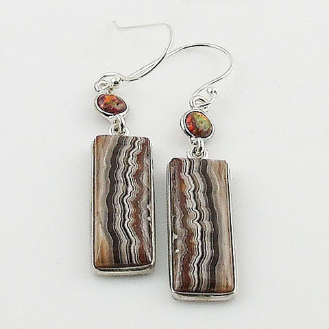 Crazy Lace Agate & Fire Opal Sterling Silver Earrings