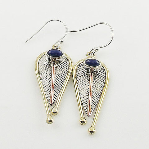 Lapis Sterling Silver Three Tone Leaf Earrings