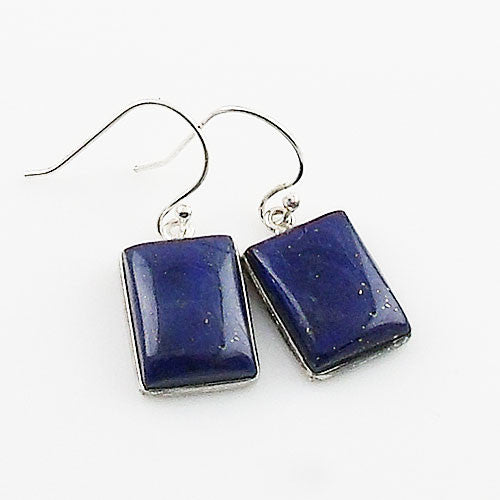 Lapis Rectangular Sterling Silver Earrings - Keja Designs Jewelry