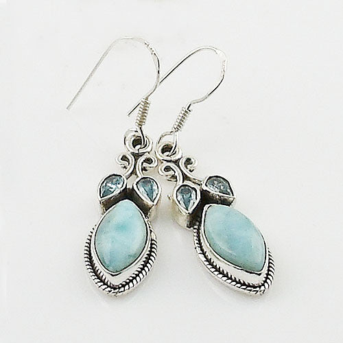 Larimar & Blue Topaz Sterling Silver Earrings - Keja Designs Jewelry