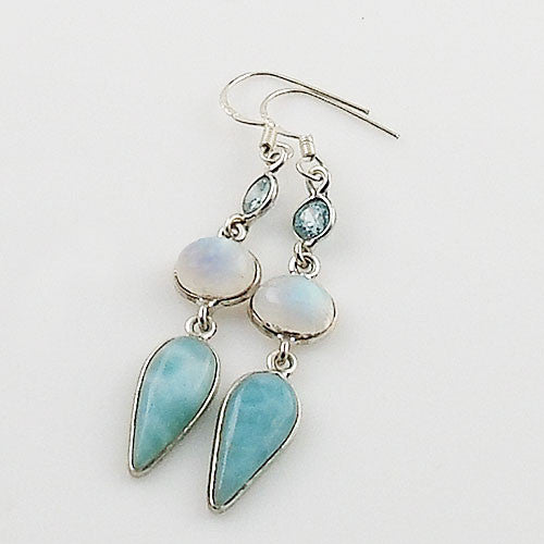 Larimar, Moonstone & Blue Topaz Sterling Silver Earrings - Keja Designs Jewelry