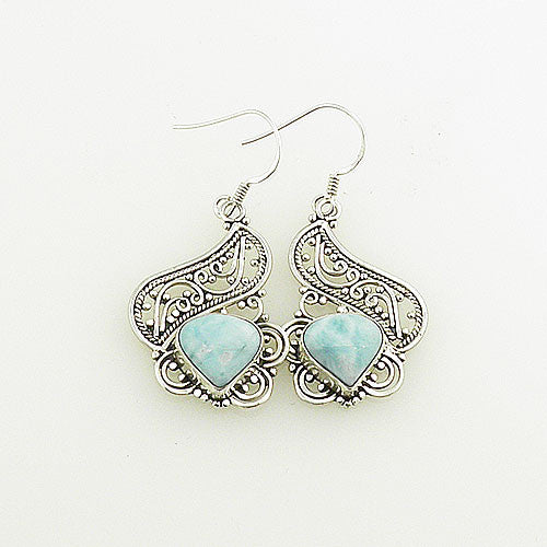 Larimar Solid Sterling Earrings - Keja Designs Jewelry