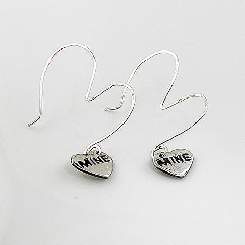 Fine Silver Heart Be Mine Earrings - Keja Designs Jewelry