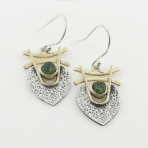 Moldavite Sterling Silver Three Tone Earrings - Keja Designs Jewelry