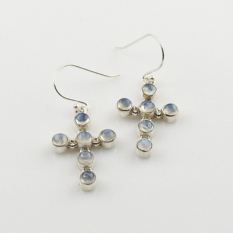 Moonstone Sterling Silver Cross Earrings - Keja Designs Jewelry