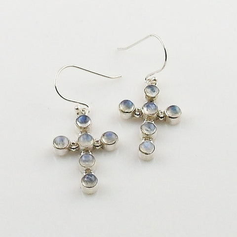 Moonstone Sterling Silver Cross Earrings