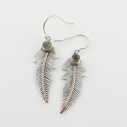 Labradorite Sterling Silver & Copper Leaf Earrings - Keja Designs Jewelry