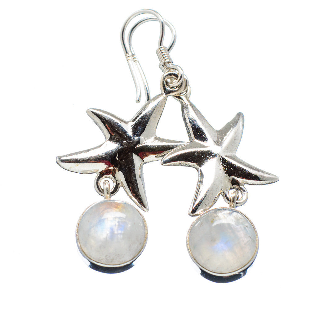 Rainbow Moonstone Starfish Sterling Silver Earrings - keja jewelry - Keja Designs Jewelry