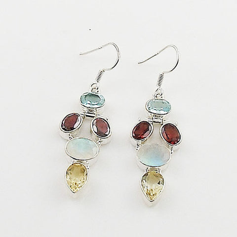 Blue Topaz, Garnet, Moonstone & Citrine Sterling Silver Earrings