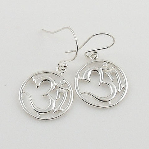 Om Sterling Silver Cut Out Earrings