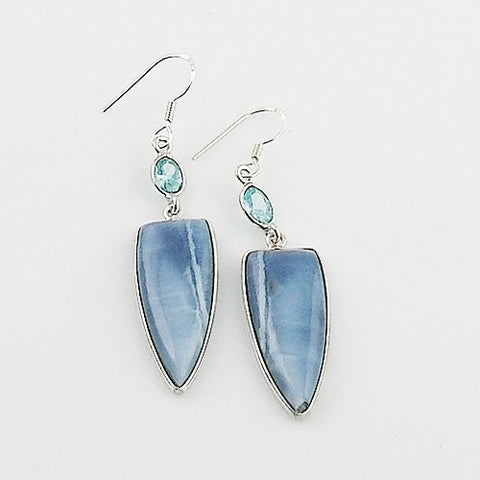 Blue Topaz & Owyhee Opal Sterling Silver Earrings