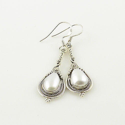 Pearl Drop Sterling Silver Earrings - Keja Designs Jewelry