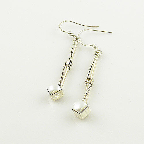 Pearl Sterling Silver Bar Earrings - Keja Designs Jewelry