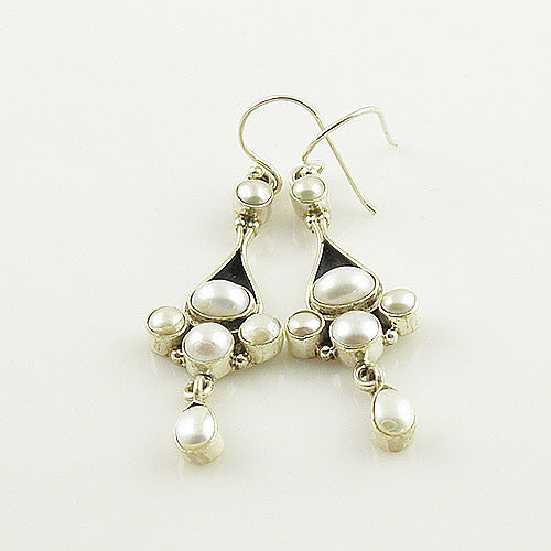 Pearl Collage Sterling Silver Dangling Earrings - Keja Designs Jewelry