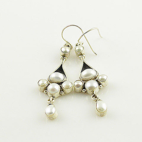 Pearl Collage Sterling Silver Dangling Earrings
